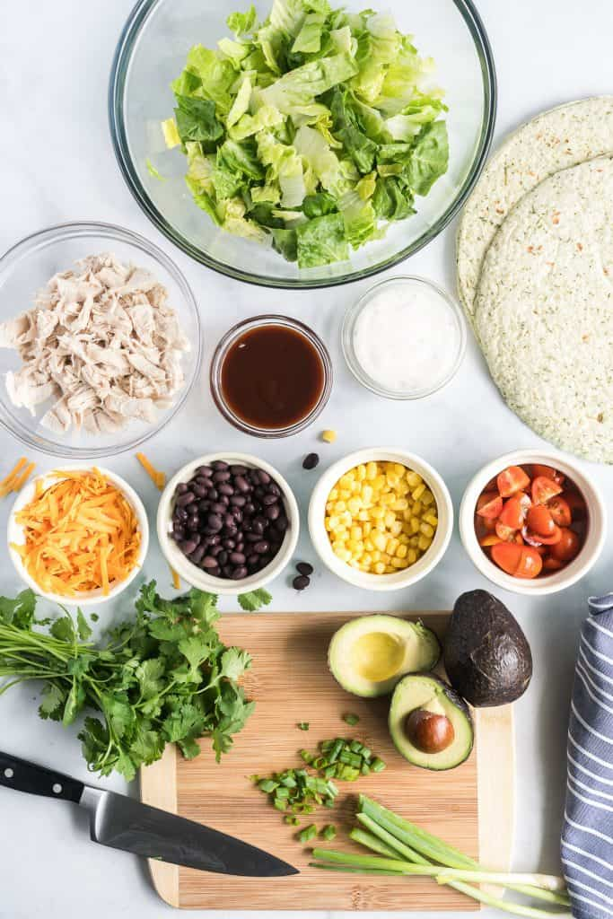All the ingredients necessary to make BBQ Chicken Salad Wraps