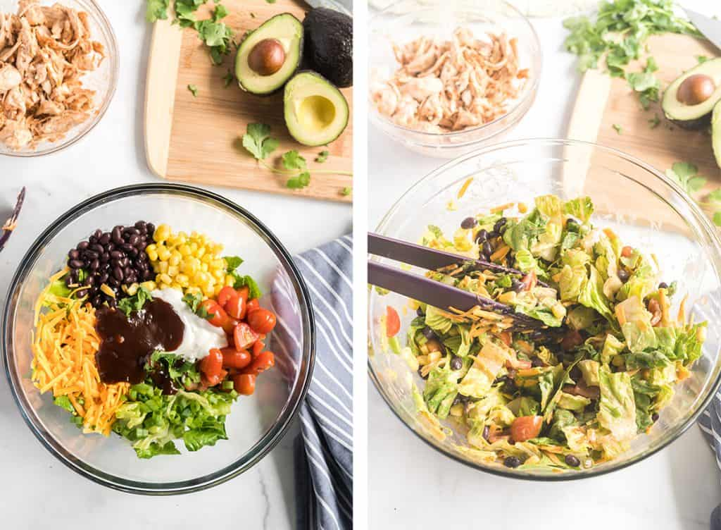 Two images showing the salad mixture being tossed with Ranch dressing and BBQ sauce.