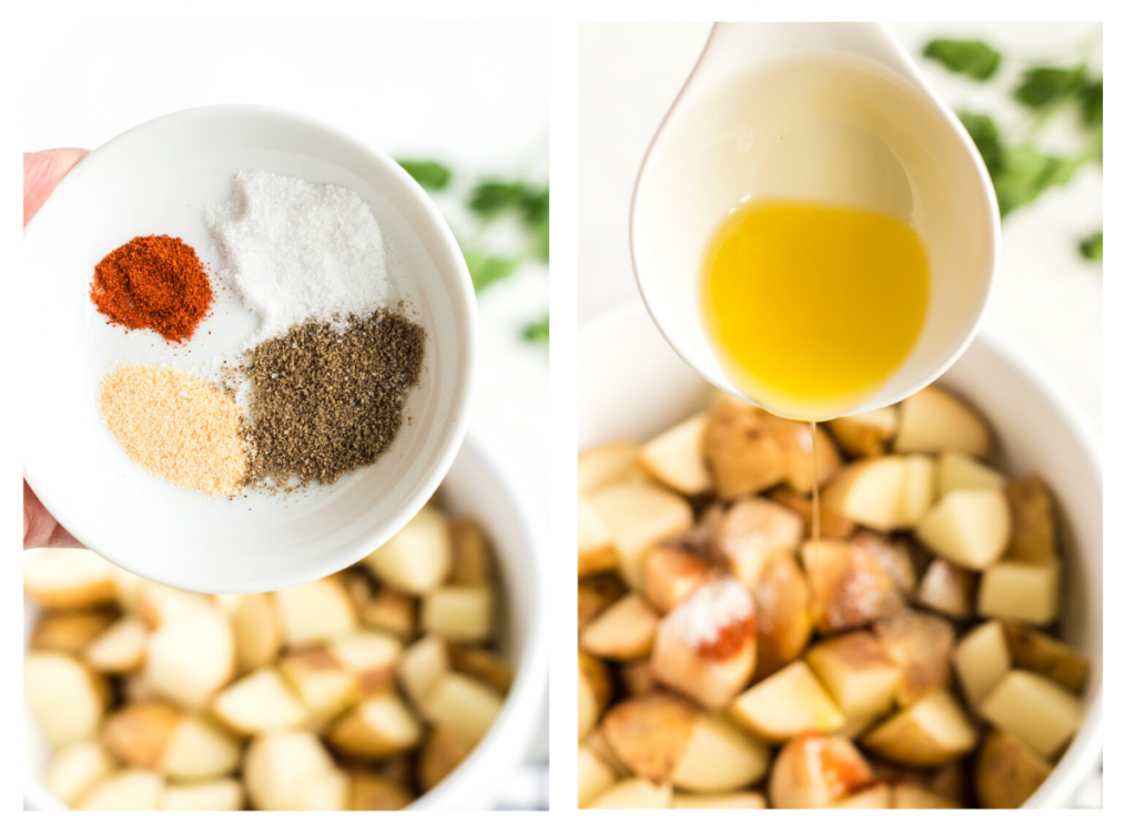Spices and olive oil being added to air fryer breakfast potatoes.