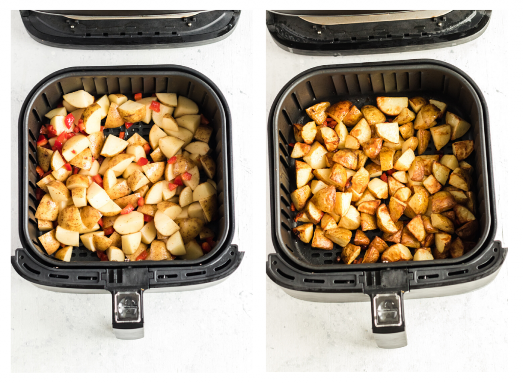 air fryer breakfast potatoes before and after cooking in air fryer.
