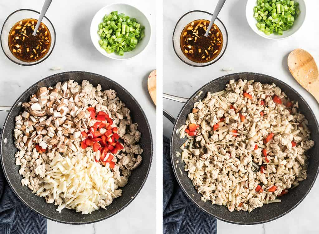 Ground chicken, mushrooms, bell pepper, and water chestnuts cook in a skillet.