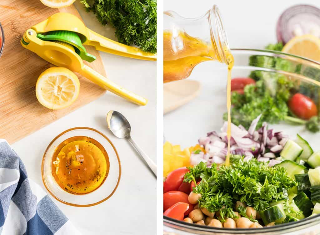 Two images showing the dressing being made and then poured over the salad.