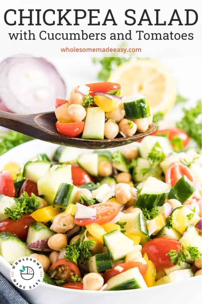 A spoon scoops Chickpea Salad from a white bowl with text overlay.