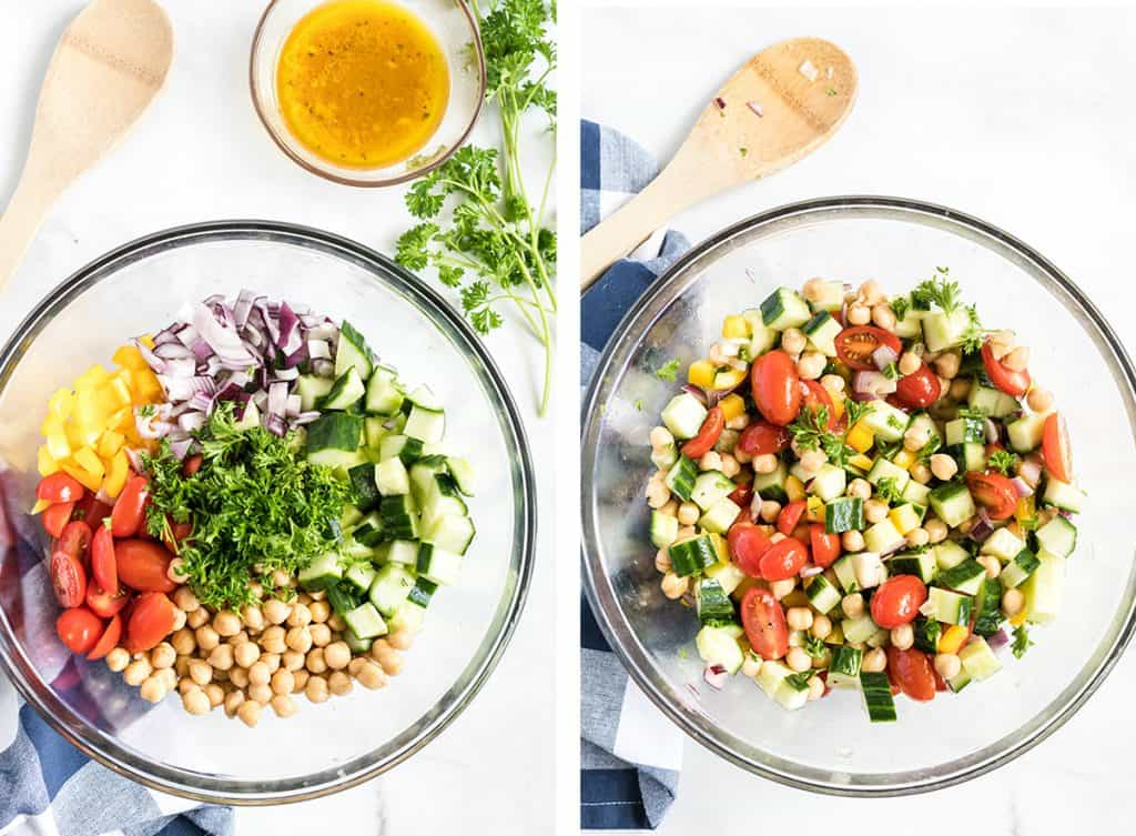 All the ingredients for Chickpea Salad are combined in a glass bowl.