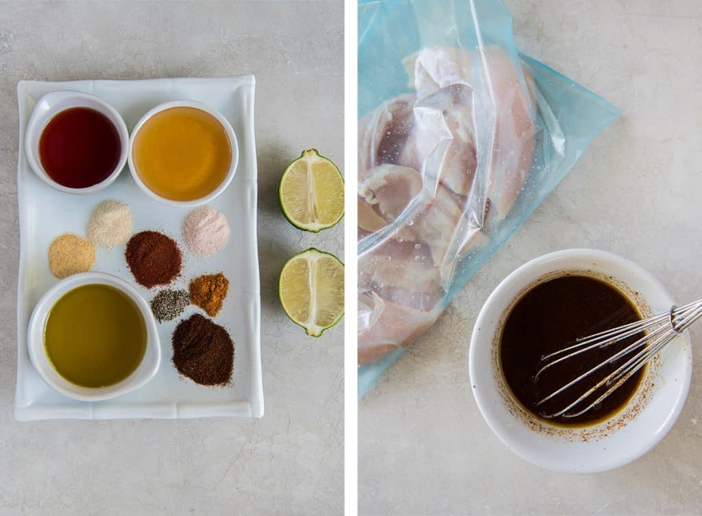 Two images show the marinade ingredients combined in a small bowl.