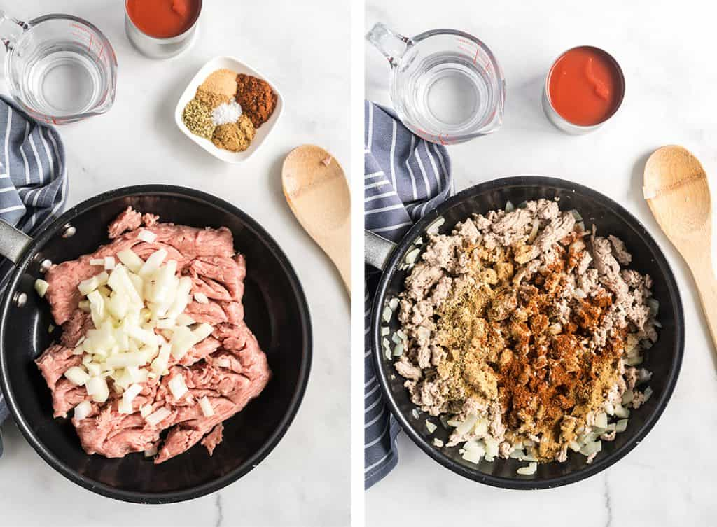 Ground turkey and onion in a skillet and spices added to the cooked ground turkey.