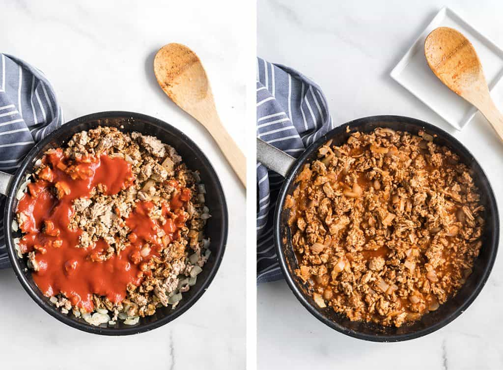 Tomato sauce is added to the cooked ground turkey in the skillet.