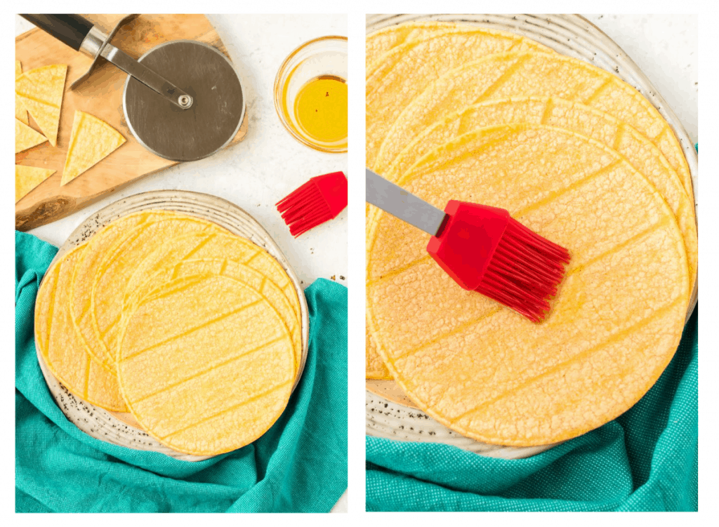 Corn tortillas being brushed with olive oil.
