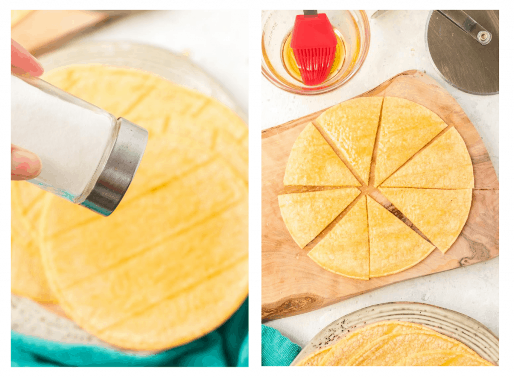 Corn tortillas being sprinkled with salt and cut in wedges.