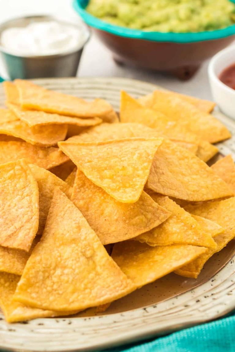 plate of air fryer tortilla chips.