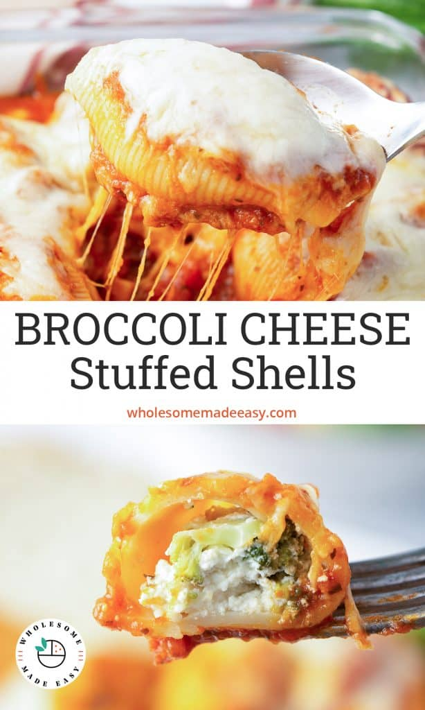 A two image vertical collage of Broccoli Cheese Stuffed Shells with text overlay.