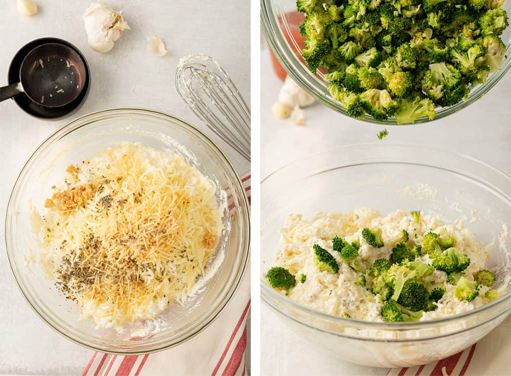 Garlic salt, basil, and broccoli are added to the filling mixture.