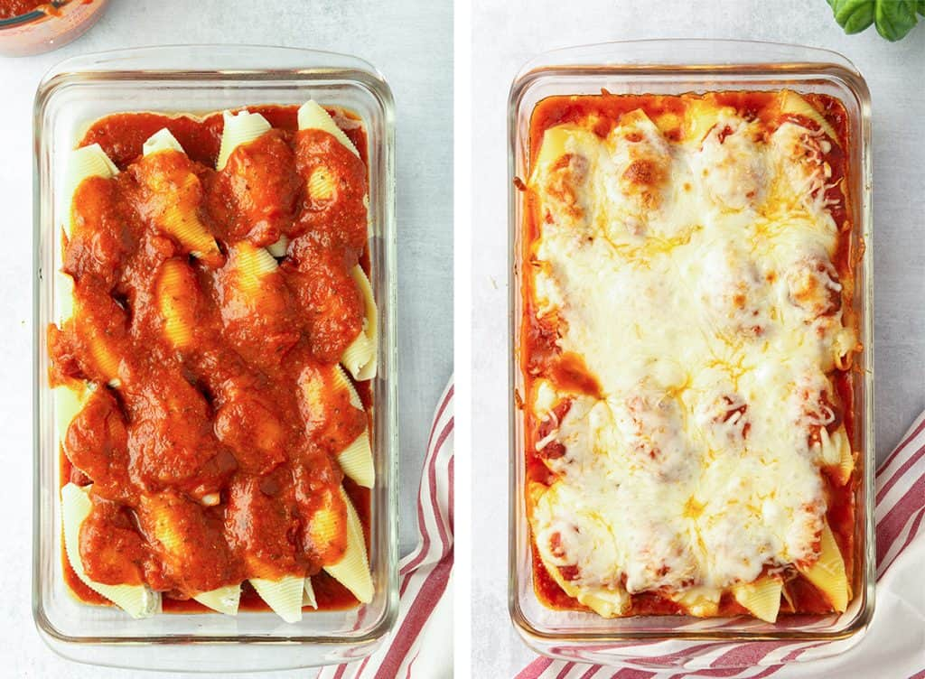 A casserole dish filled with stuffed shells topped with marinara and melted cheese.