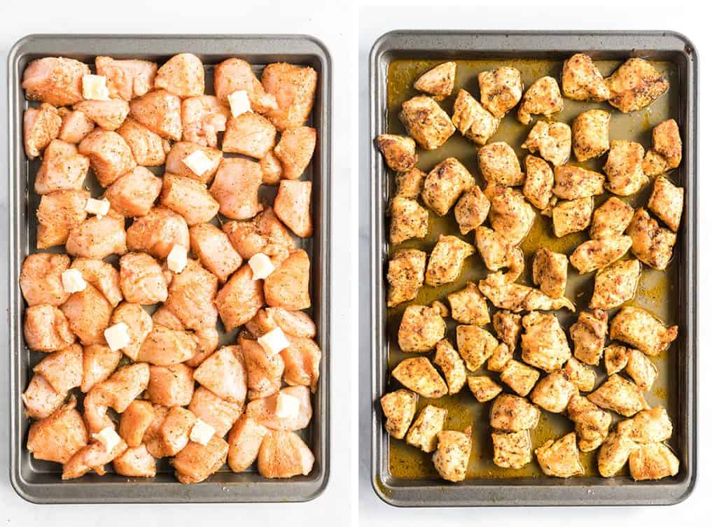 Seasoned pieces of chicken on a baking sheet topped with small pats of butter and after they come out of the oven.
