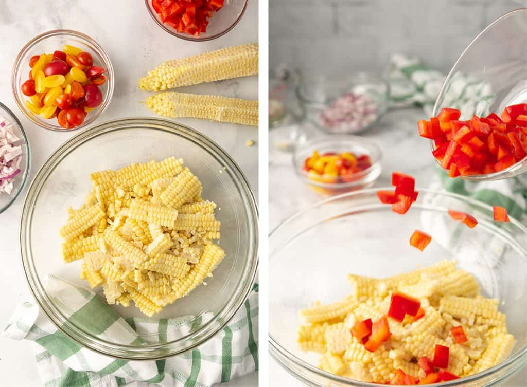 Fresh corn is sliced off the cobb and combined with diced red bell pepper in a glass bowl.