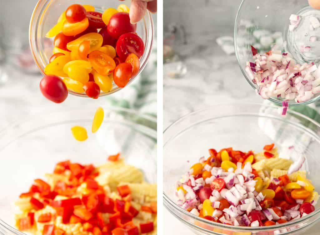 Cherry tomatoes and diced red onion are added to the corn salad.
