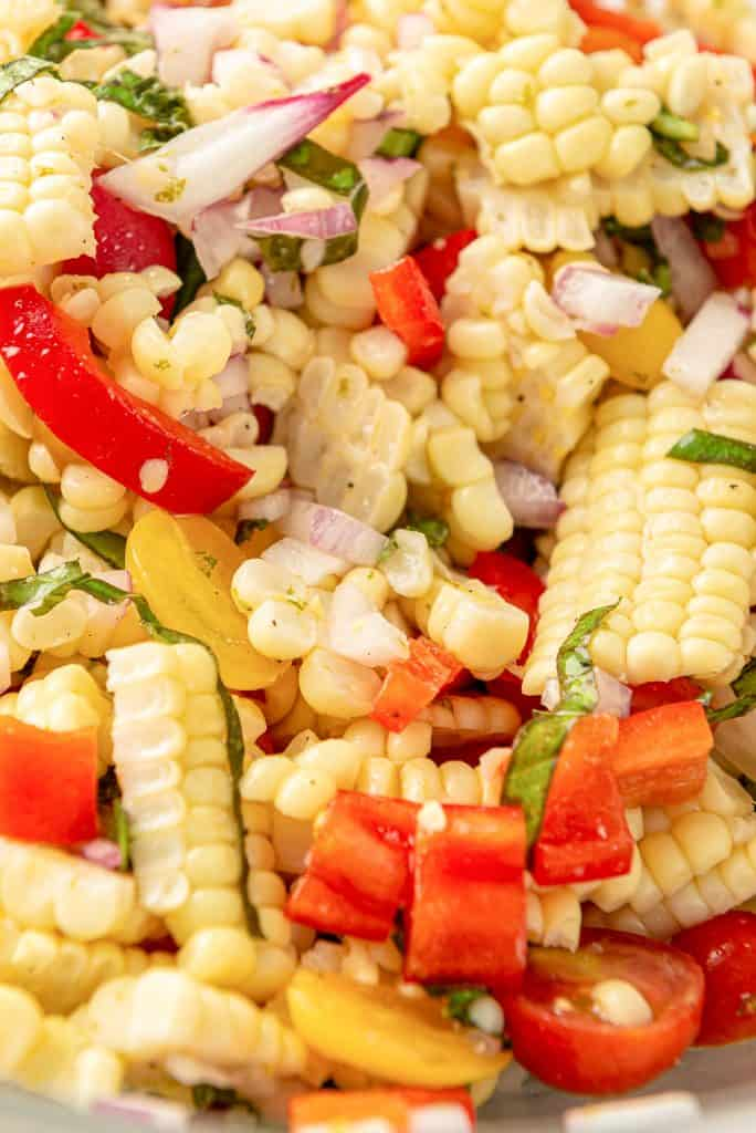 A close up of the corn salad recipe ingredients.