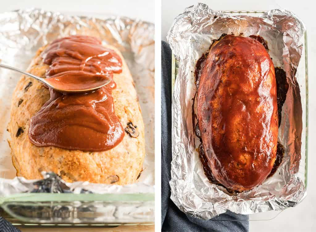 Glaze is spooned over a meatloaf and then it is baked in a foil lined dish.
