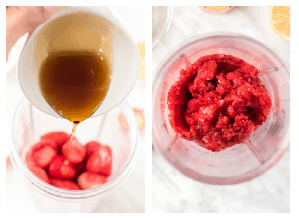 maple syrup being added to frozen strawberries and then blended into puree.