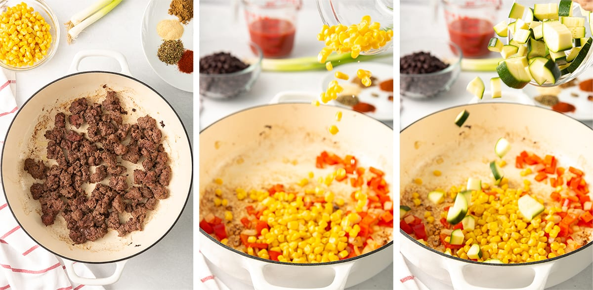 Ground beef, corn and bell pepper in a skillet.