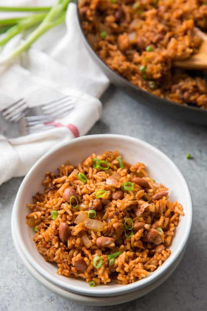 low sodium rice and beans in a white bowl
