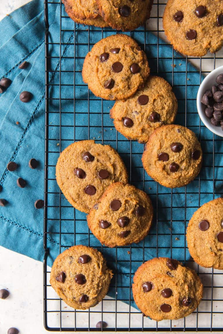 paleo chocolate chip cookies with a blue napkin