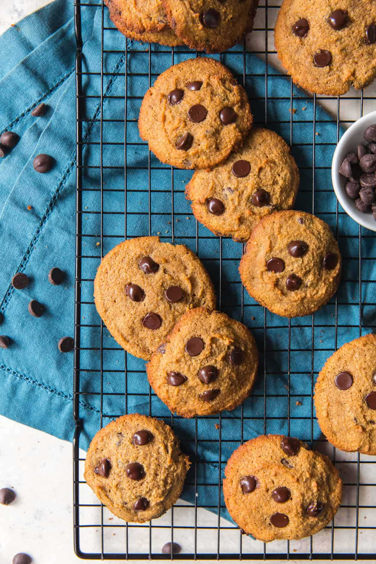 paleo chocolate chip cookies on a wire rack with a blue cloth