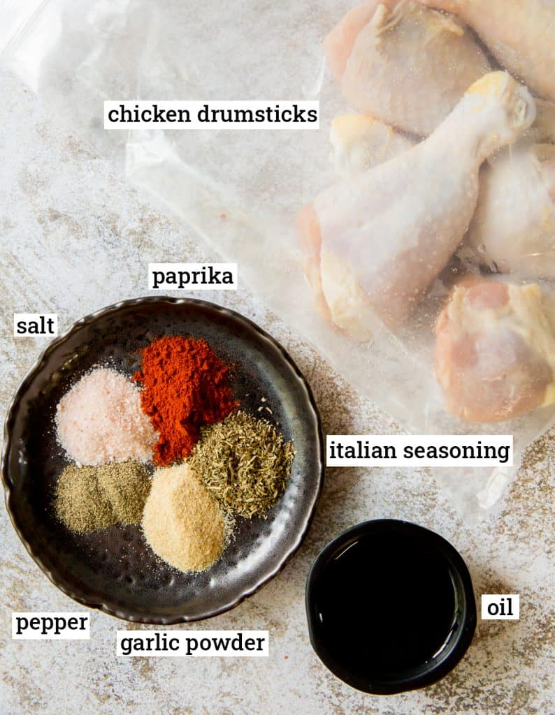 The ingredients for Air Fryer Chicken Drumsticks with text overlay.