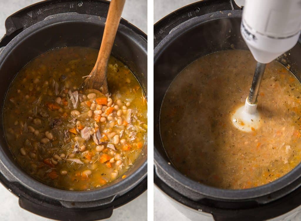 An immersion blender purees ingredients in an Instant Pot.