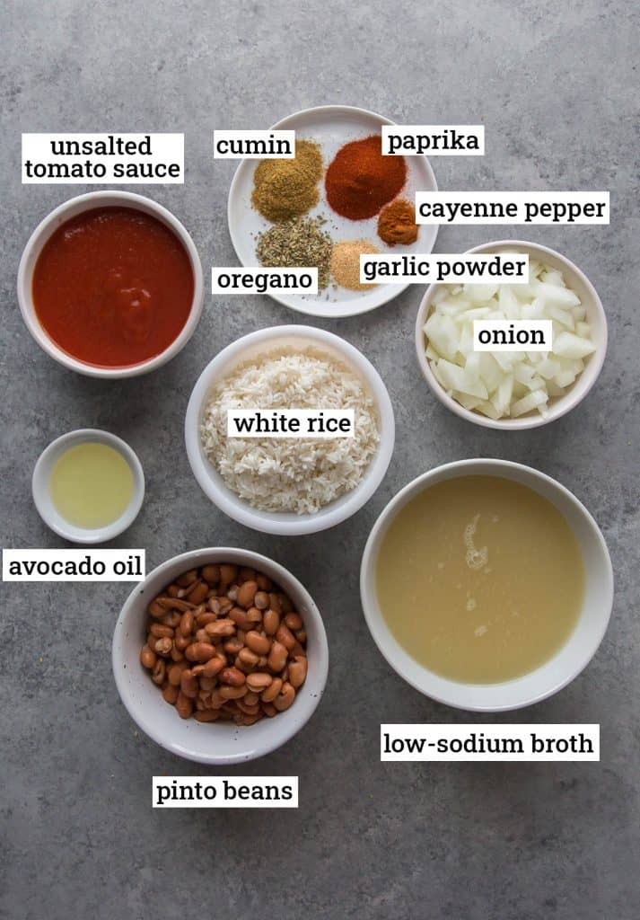 Ingredients for Low Sodium Spanish Rice and Beans