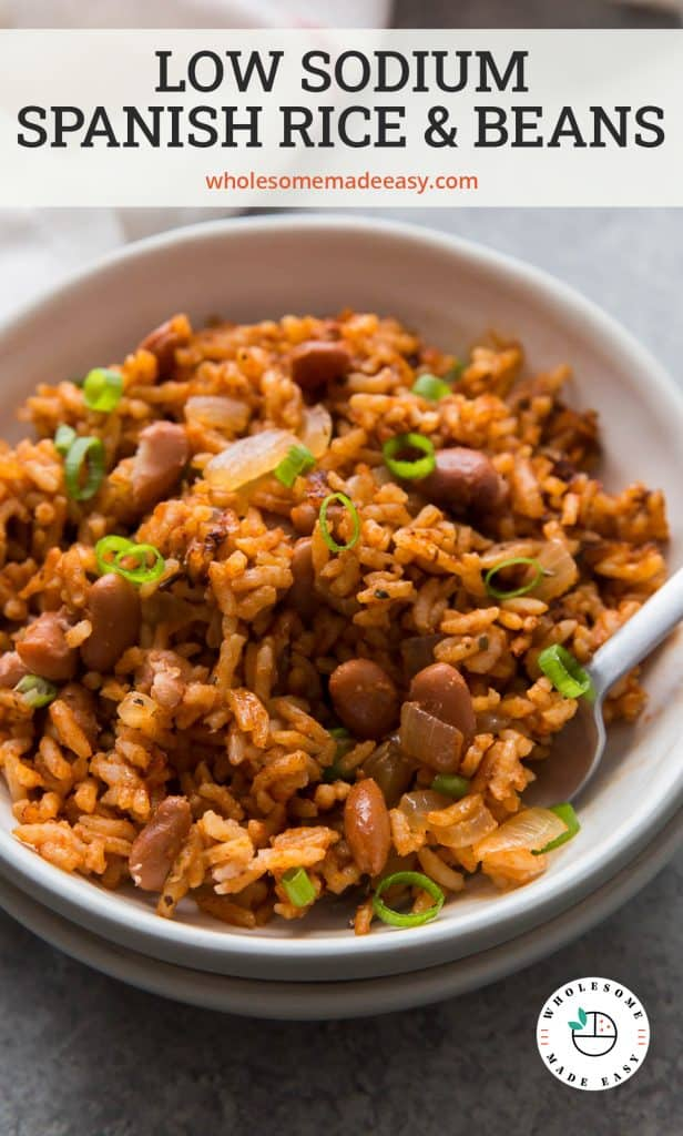 Low Sodium Rice and Beans in a white bowl with text overlay.