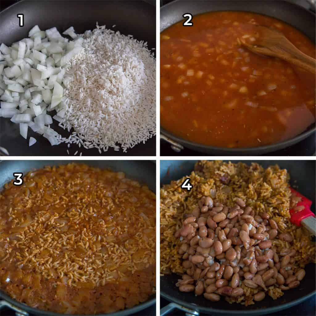 Rice and beans cook in a skillet.