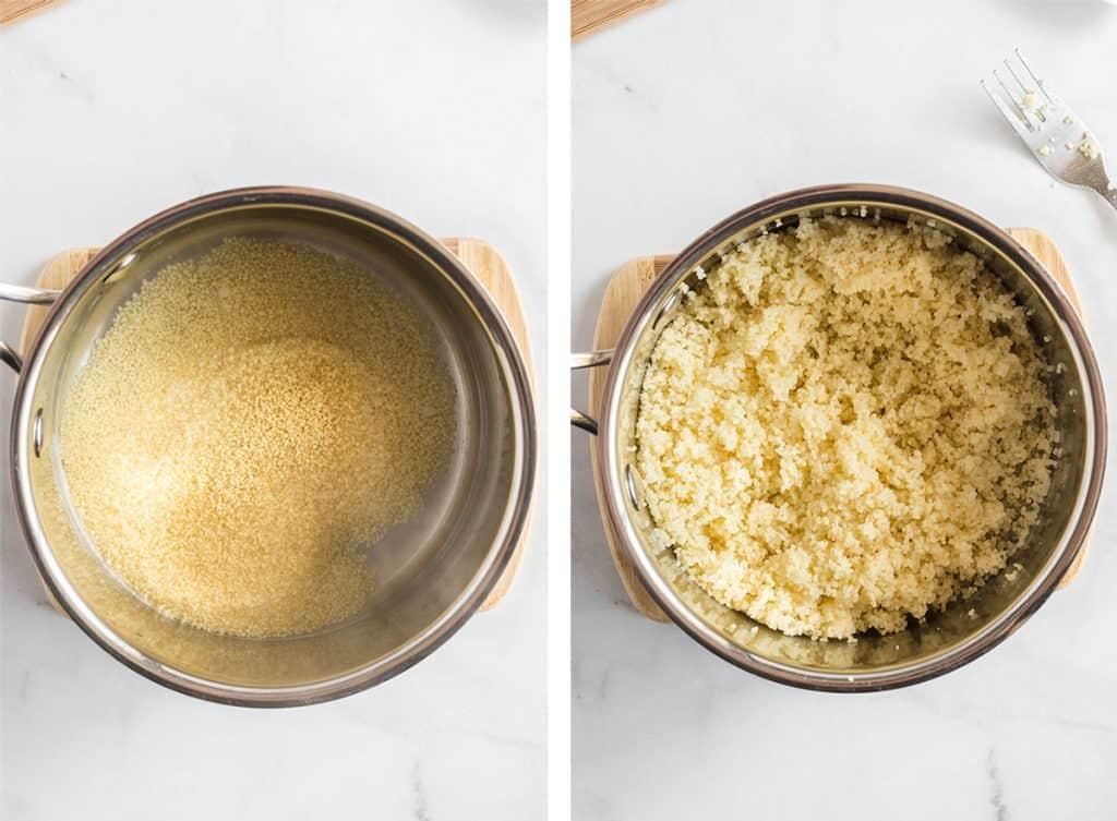 Couscous in a metal pot.