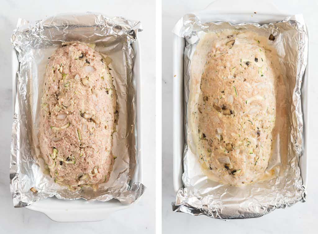 Turkey meatloaf in a foil lined baking dish.