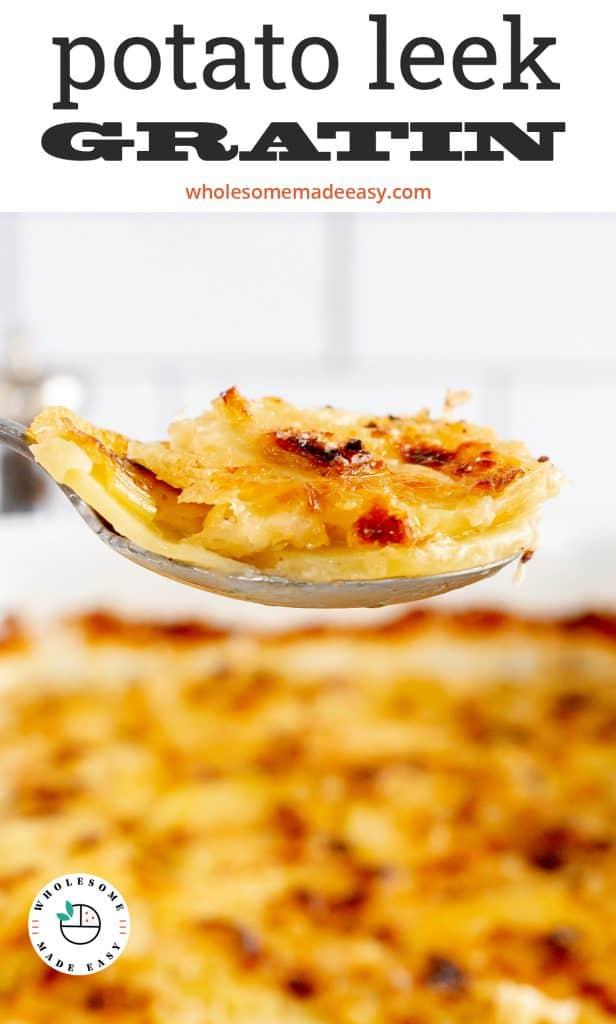 A spoon lifts Potato Leek Gratin from a baking dish.