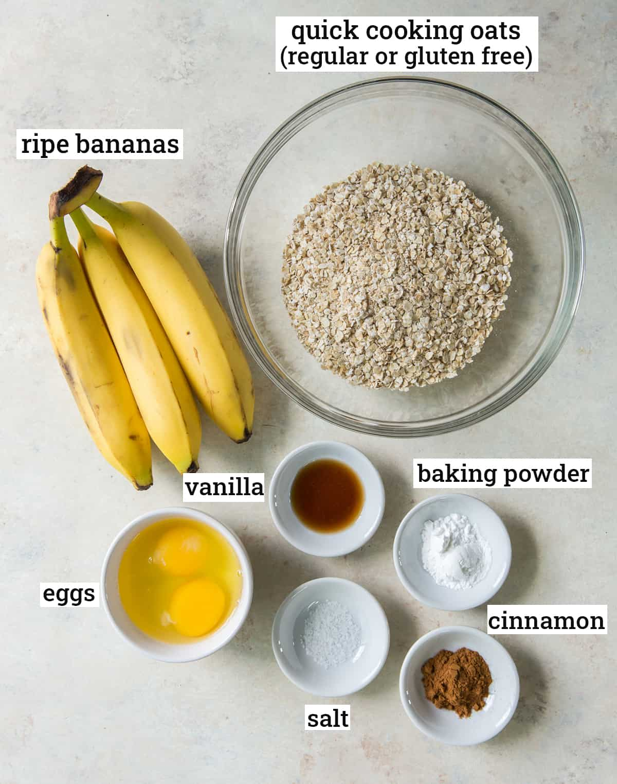 All the ingredients needed to make Banana Oat Pancakes with text overlay.
