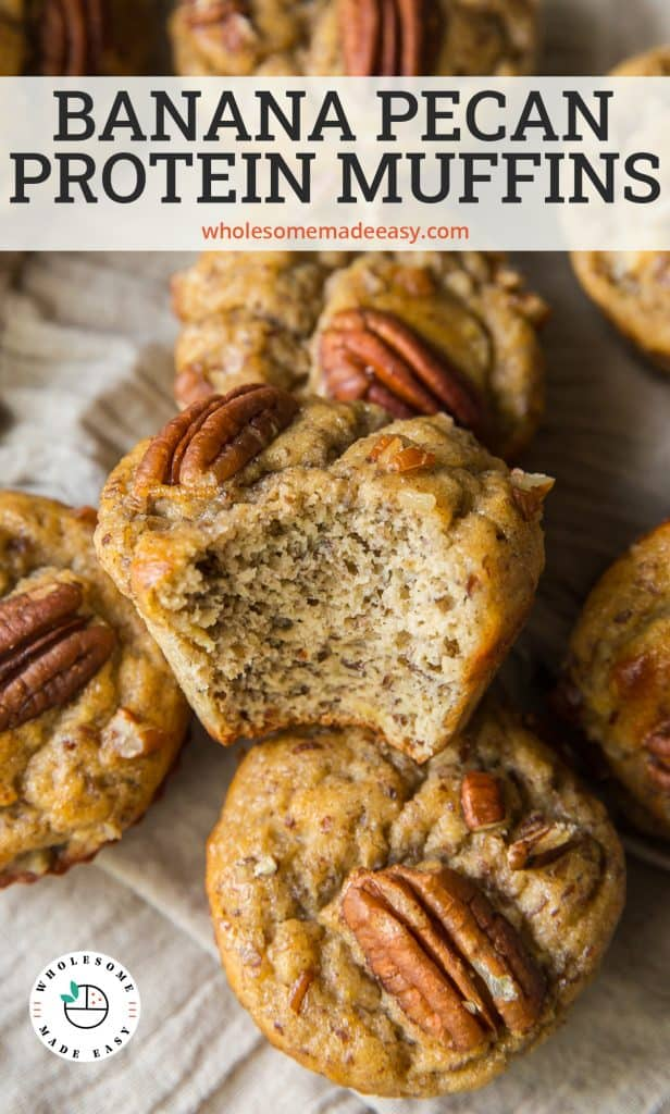 A muffin with a bite missing on top of a pile of muffins with text overlay.