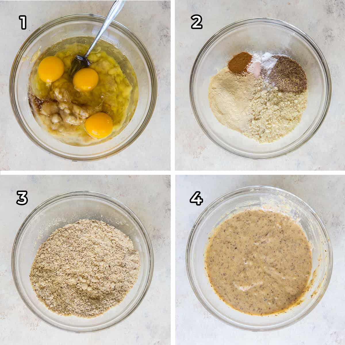 Muffin batter is combined in a glass mixing bowl.