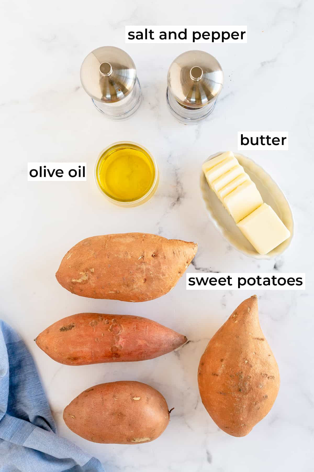 Sweet potatoes, olive oil, butter, salt and pepper with text overlay.
