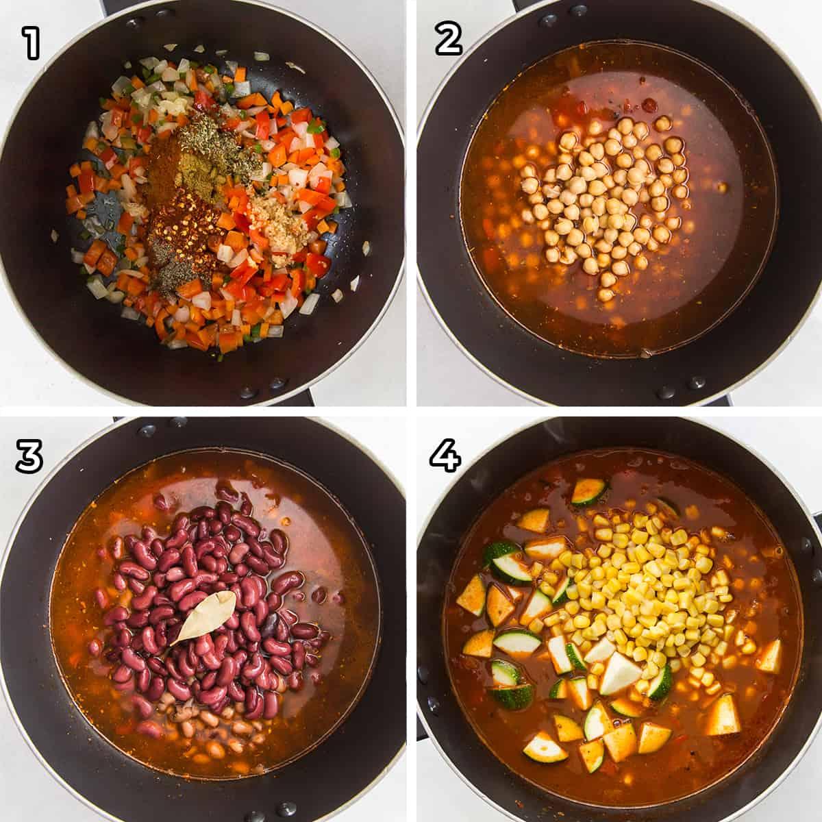 Close ups of Veggie Chili being prepared in a pot.