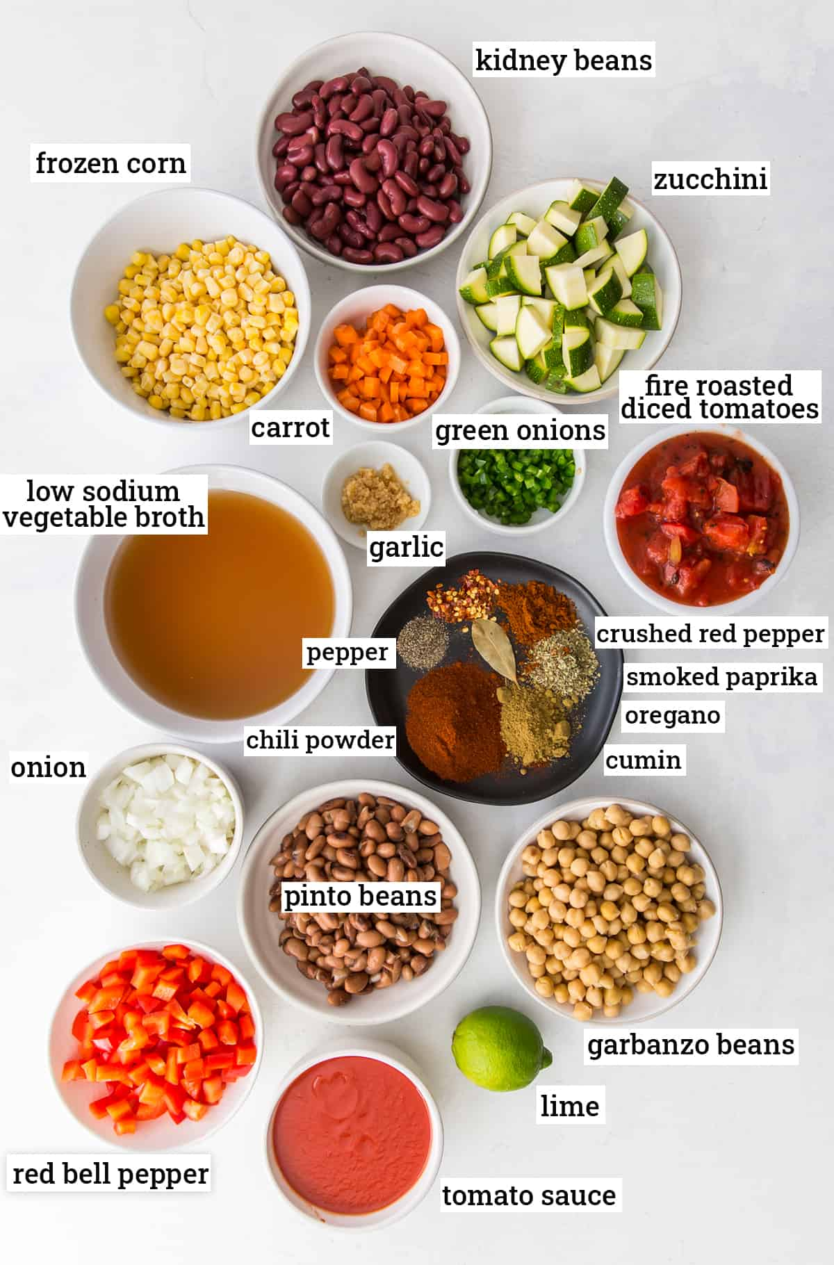 All the ingredients for veggie chili with text overlay.