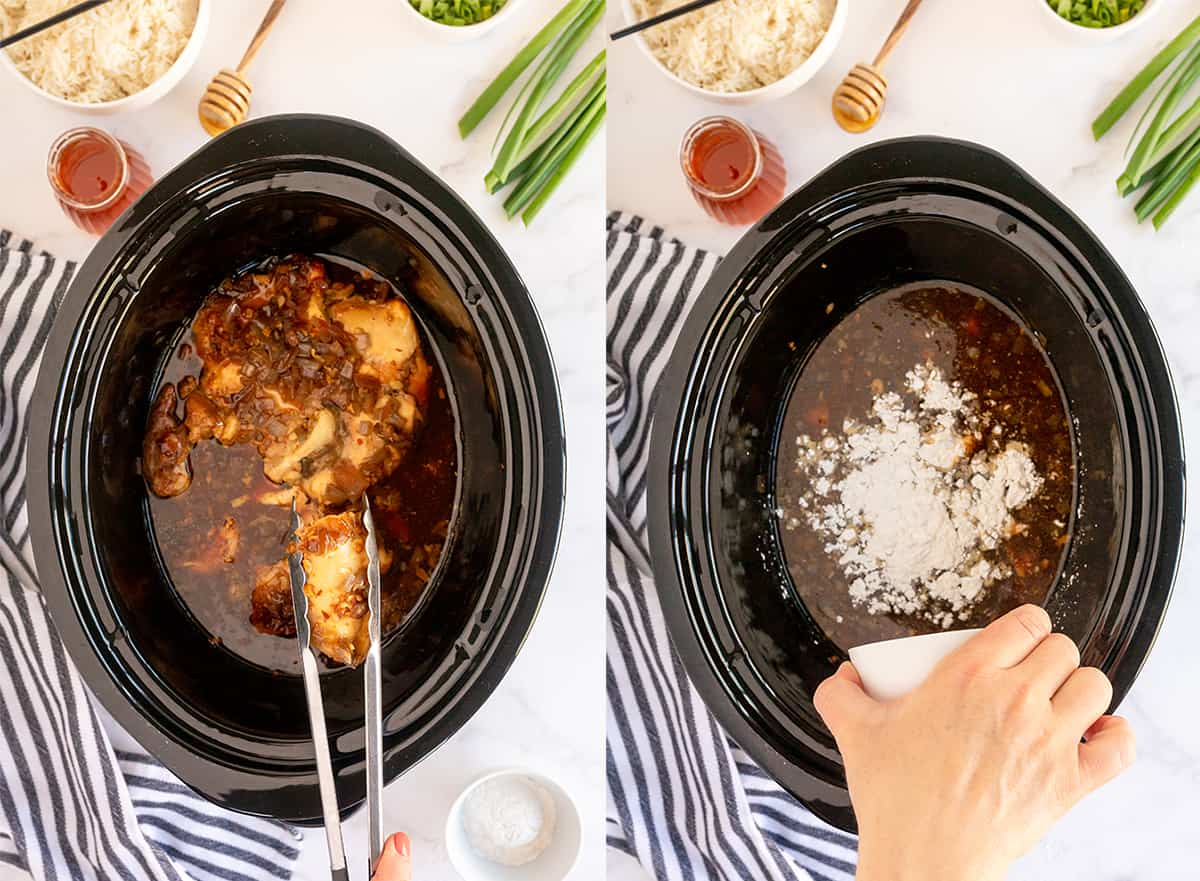 Cooked chicken is removed from a slow cooker with tongs and cornstarch is added to the sauce.