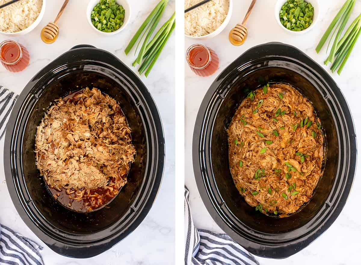 Shredded chicken is added to sauce in a slow cooker and topped with green onions.