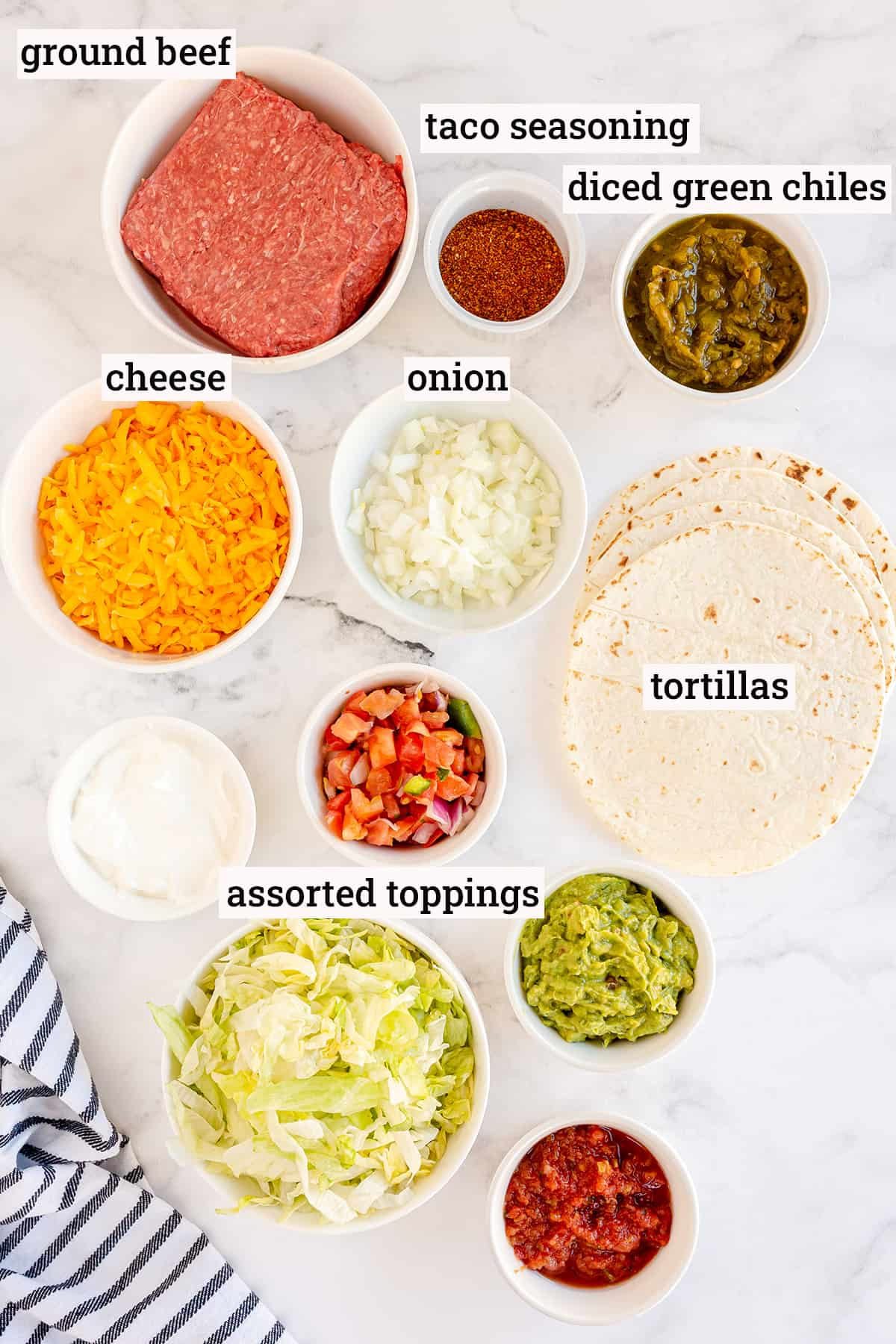 The ingredients needed for Air Fryer Beef Taquitos with text overlay.