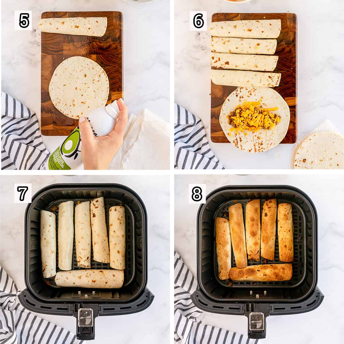 Tortillas are filled and cooked in an air fryer.