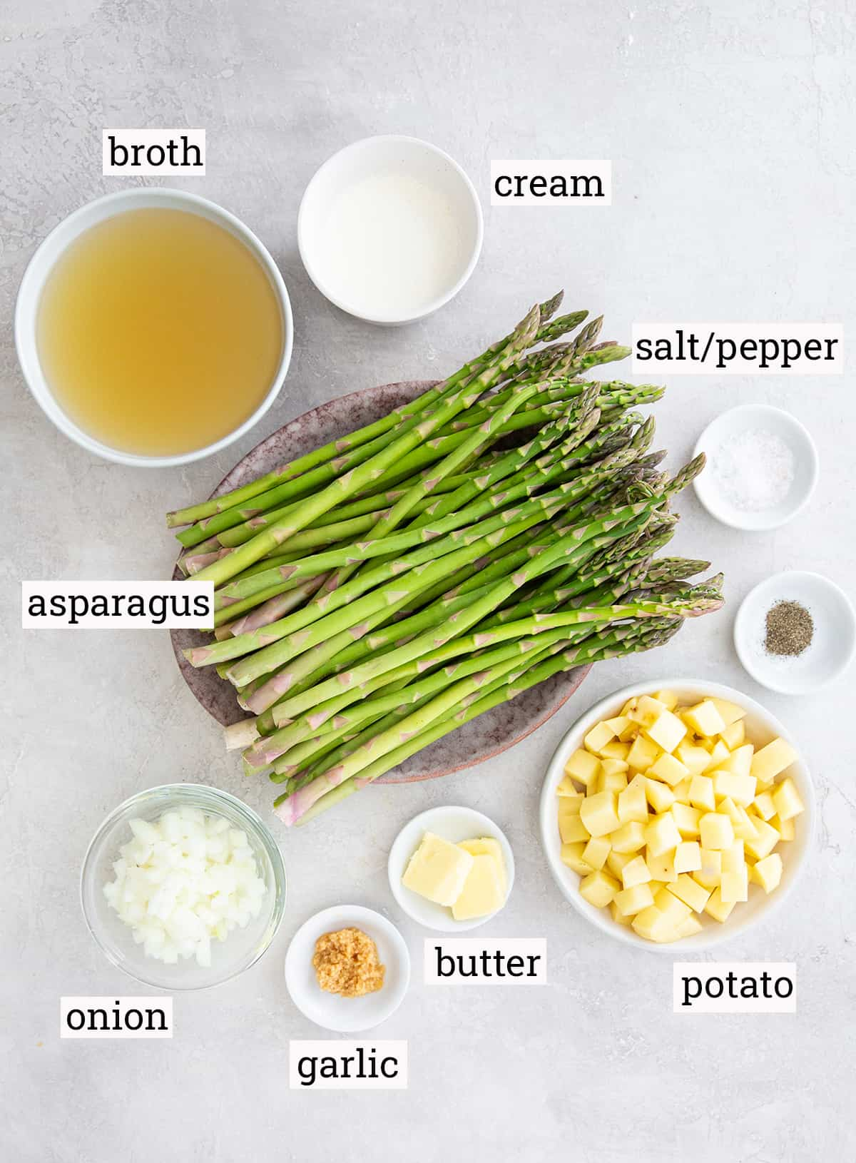 The ingredients for Cream of Asparagus Soup with text overlay.