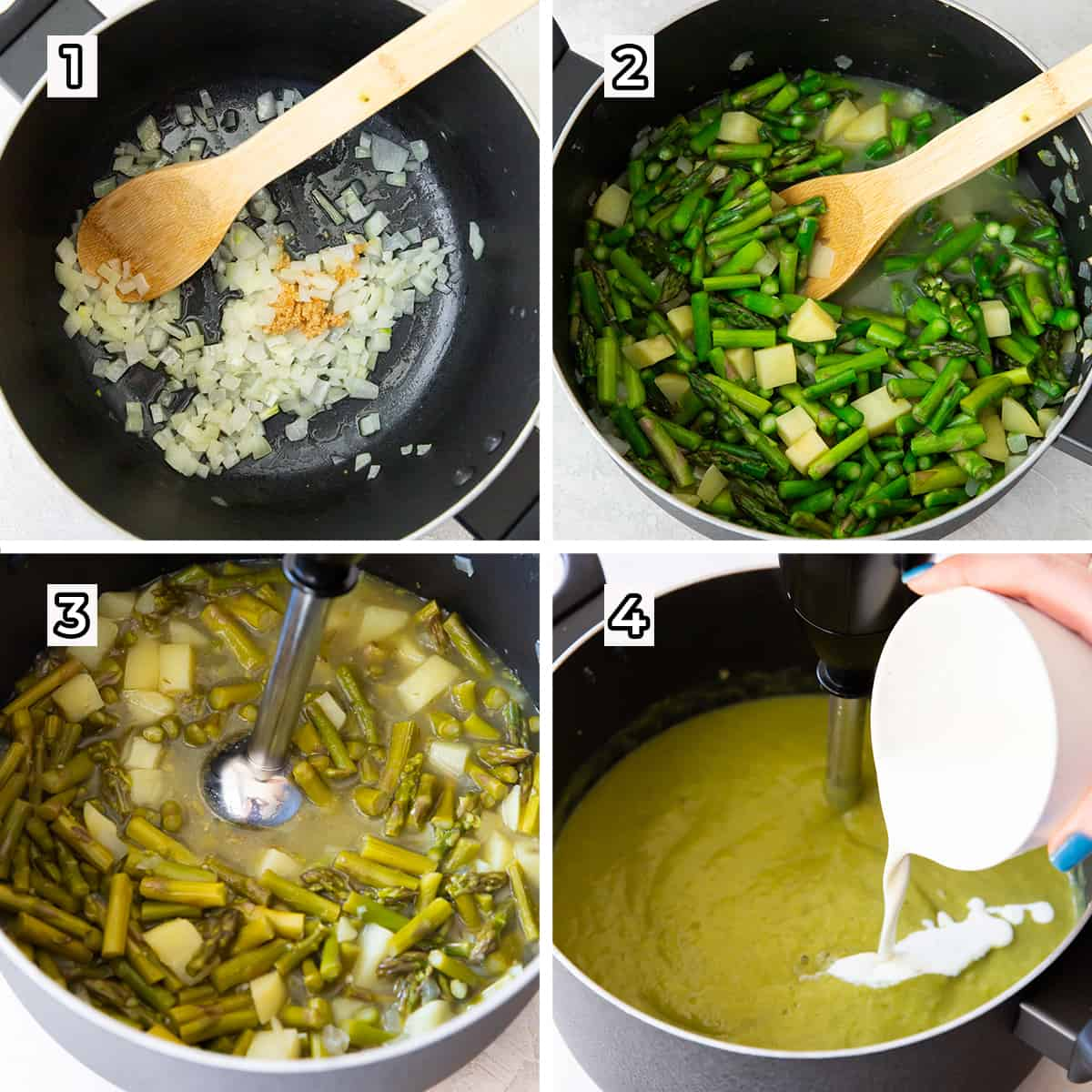Asparagus and other ingredients cook in a pot.
