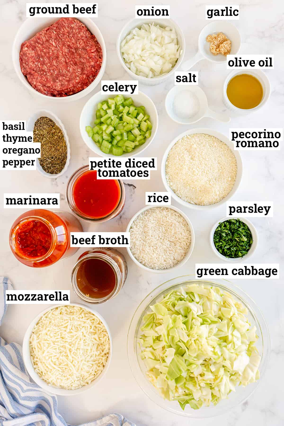 The ingredients needed to make Cabbage Roll Casserole with text overlay.