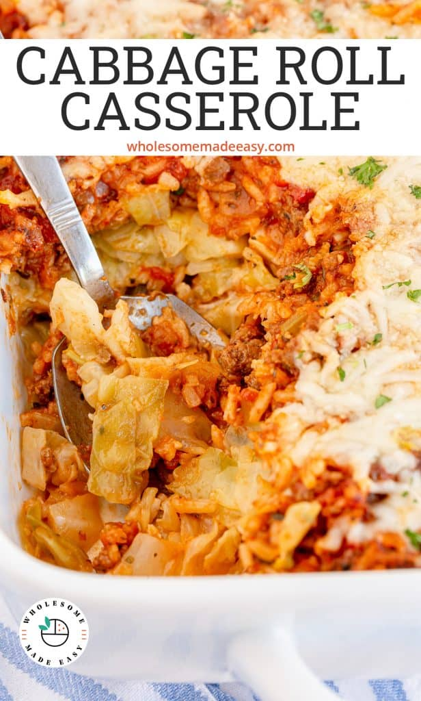 A spoon digs into a casserole with cabbage with text overlay.