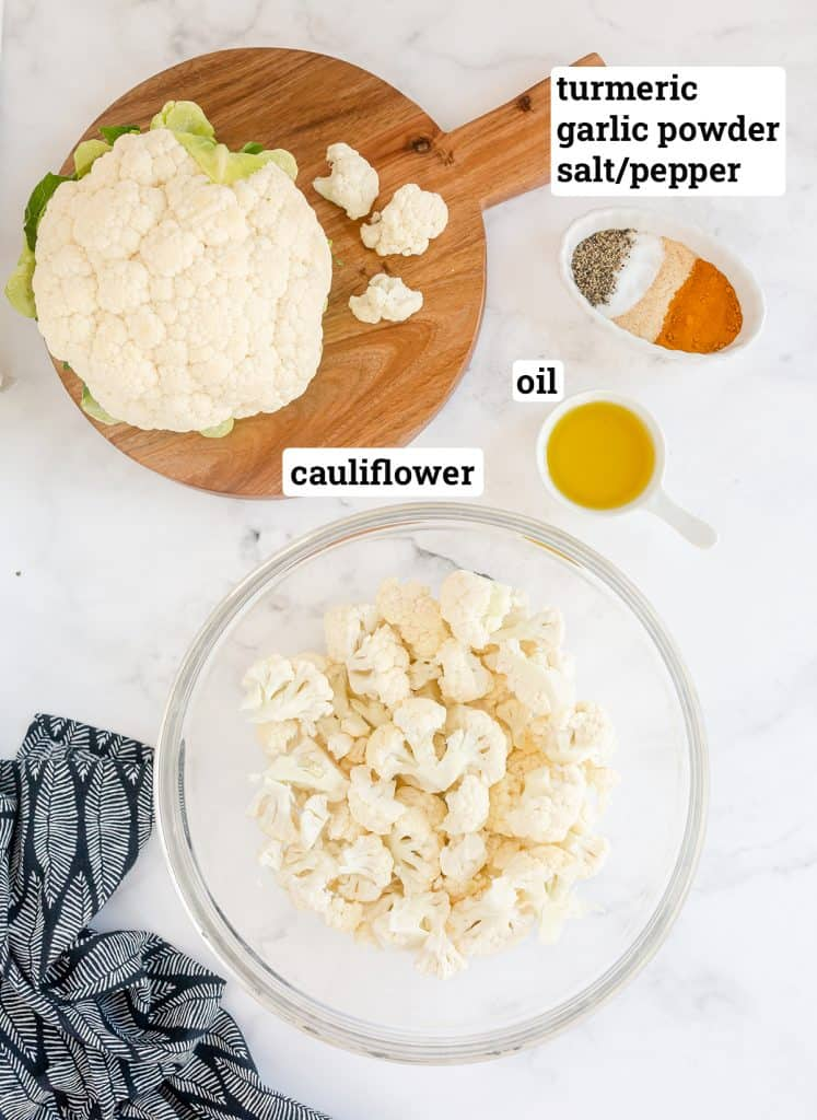 The ingredients for Turmeric Roasted Cauliflower with text overlay.